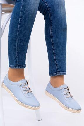 Hoba Kadın Mavi Ortopedik Lastik Bağcıklı İçi Deri Alçak Topuklu Günlük Rahat Ayakkabı 1