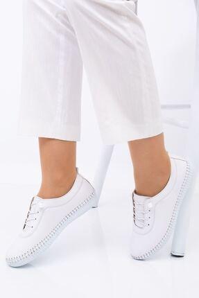 Hoba Kadın Ortopedik Beyaz Lastik Bağcıklı Içi Deri Alçak Topuklu Günlük Rahat Ayakkabı 2