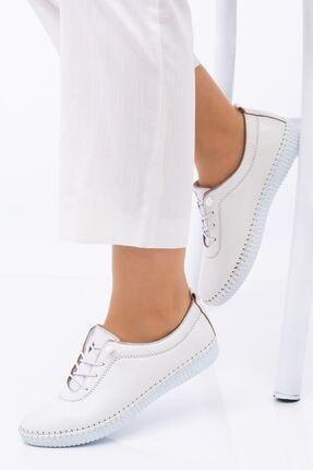 Hoba Kadın Ortopedik Beyaz Lastik Bağcıklı Içi Deri Alçak Topuklu Günlük Rahat Ayakkabı 4