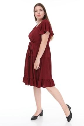 Lir Kadın Büyük Beden Fırfır Katlı Yarım Kol Elbise Bordo 2