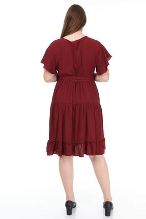 Lir Kadın Büyük Beden Fırfır Katlı Yarım Kol Elbise Bordo 4