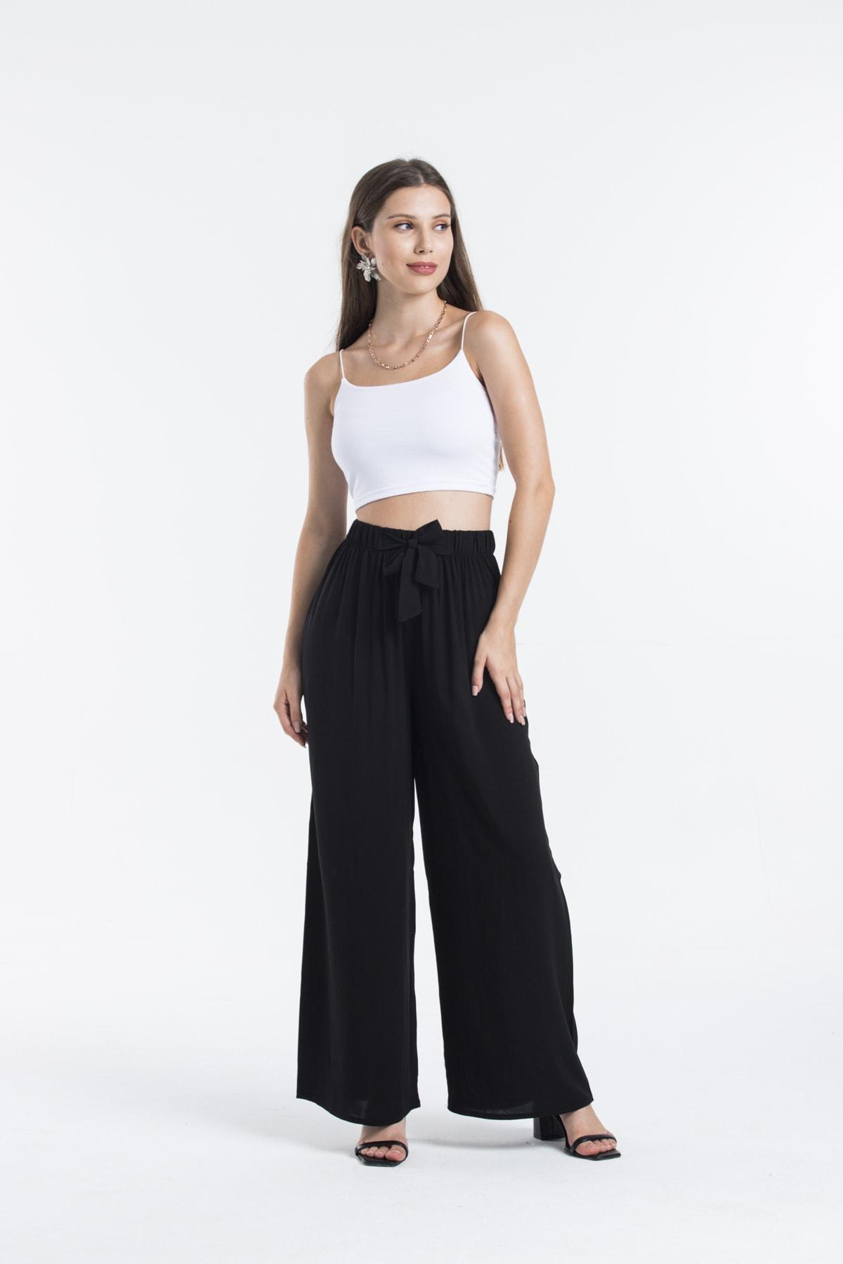 Kadın Siyah Bol Kesim Bağlama Detaylı Pantolon
