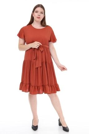 Lir Kadın Büyük Beden Fırfır Katlı Yarım Kol Elbise Tarçın 1