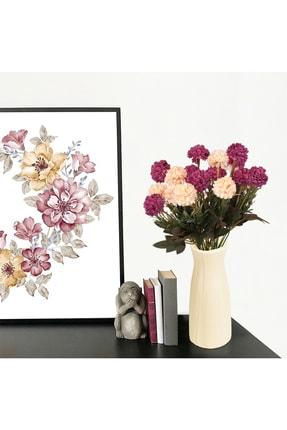 çiçekmisin Çizgi Desenli Beyaz Plastik Saksıda 2 Demet Yapay Karanfil 1