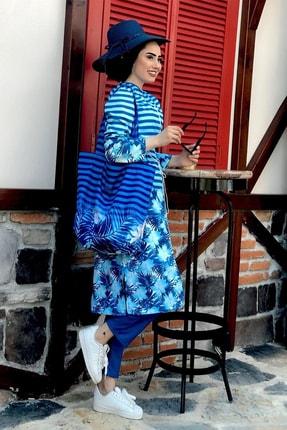 Minel Kadın Mavi Çizgili Tam Kapalı Tesettür Mayo 0