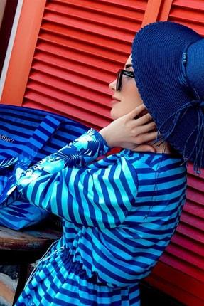 Minel Kadın Mavi Çizgili Tam Kapalı Tesettür Mayo 1