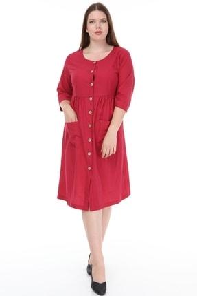 Lir Kadın Büyük Beden Cepli Düğmeli Elbise Bordo 1