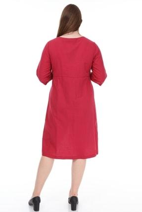 Lir Kadın Büyük Beden Cepli Düğmeli Elbise Bordo 4