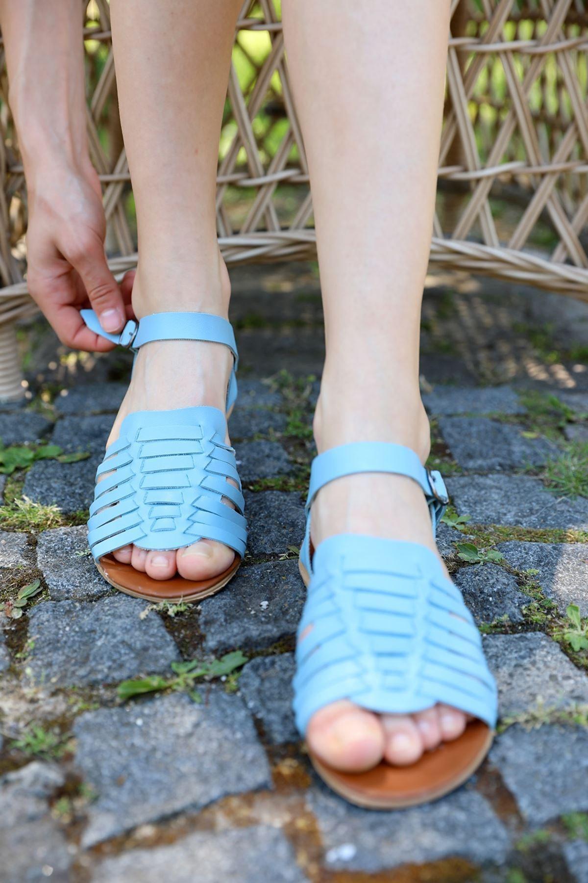 metropol tekstil Kadın Mavi Biyeli Sandalet Od-42