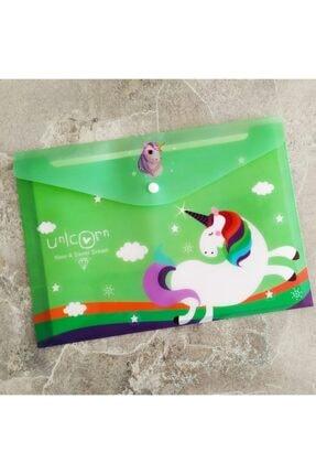Şeker Ofisi Sevimli Unicorn Yeşil A4 Çıtçıtlı Dosya 0