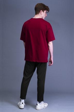 Mushroom Apparel Erkek Bordo Nakışlı Oversize T-shirt 1