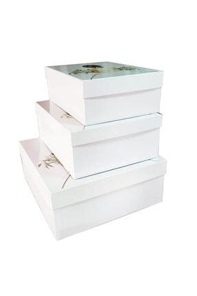 Ceyyiz 3'lü Gelin Figürlü Beyaz Gelin Çeyiz Kutuları 2