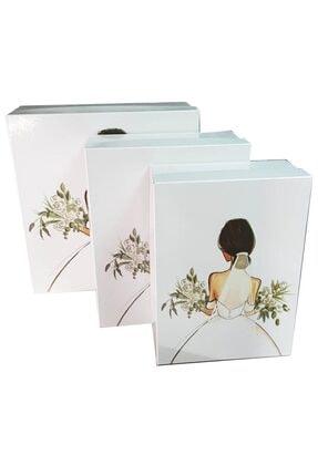 Ceyyiz 3'lü Gelin Figürlü Beyaz Gelin Çeyiz Kutuları 3