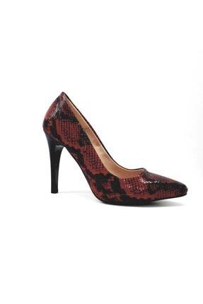 PUNTO Kadın  Siyah Kırmızı Desenli Klasik Stiletto Ayakkabı 452001z 0