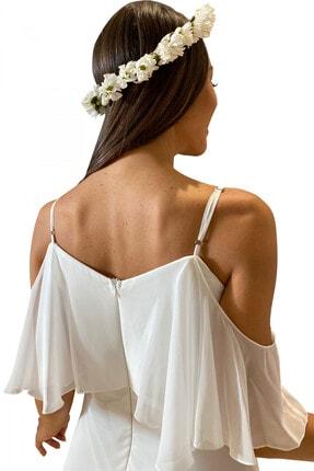 Carmen Ekru Askılı Uzun Abiye Elbise 1