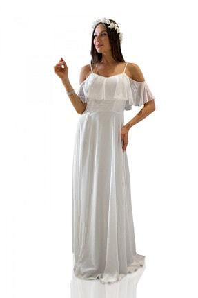 Carmen Ekru Askılı Uzun Abiye Elbise 2