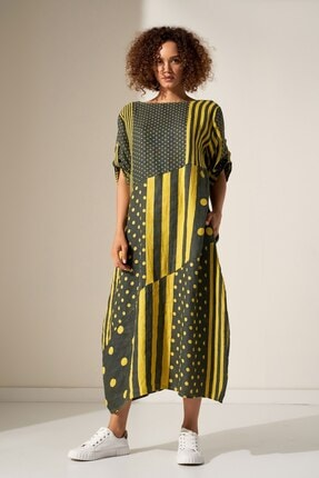 Camena Puantiye Çizgili Keten Elbise 2019070500191 1