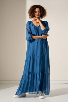 Camena V Yaka Ipek Elbise 2019070500196 0