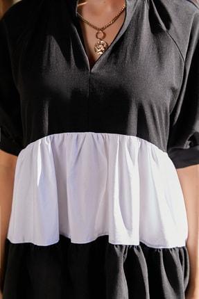 Sateen Kadın Siyah Volanlı Salaş Mini Elbise 2