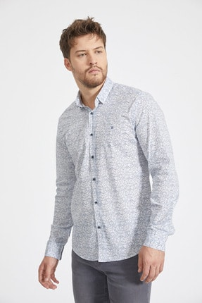 Avva Erkek Açık Mavi Baskılı Alttan Britli Yaka Slim Fit Garnili Gömlek A02Y2070 0