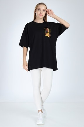 Millionaire Kadın Siyah Stop Baskılı Oversize T-Shirt 1