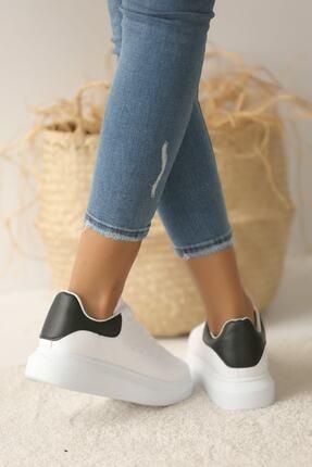 Pembe Potin Kadın Beyaz Siyah Ayakkabı 2