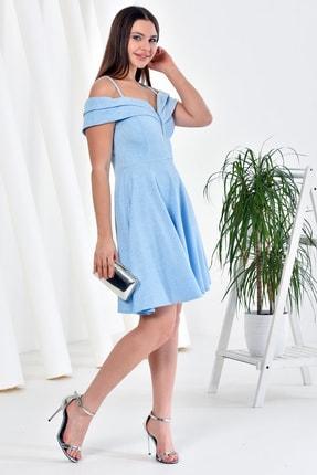 Zenlife Kadın Bebe Mavi Çift Kat Prenses Kollu Evaze Askılı Kısa Elbise 3