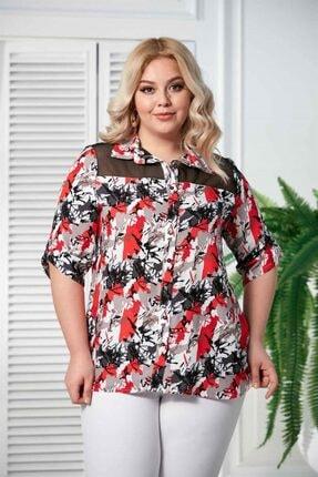 Rmg Kadın Mercan Kol Detaylı Büyük Beden Gömlek 1
