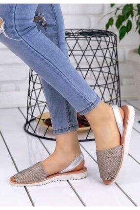 Trendypazar Kadın Vizon Cilt Desenli Sandalet 1