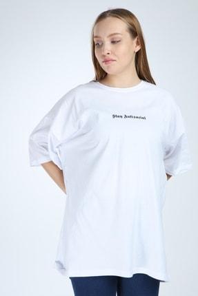 Millionaire Kadın Beyaz Stay Antisocial Baskılı Oversize Tshirt 0