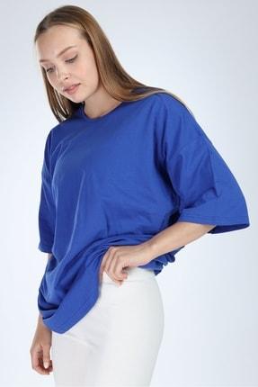 Millionaire Kadın Düz Sax Oversize T-shirt 1
