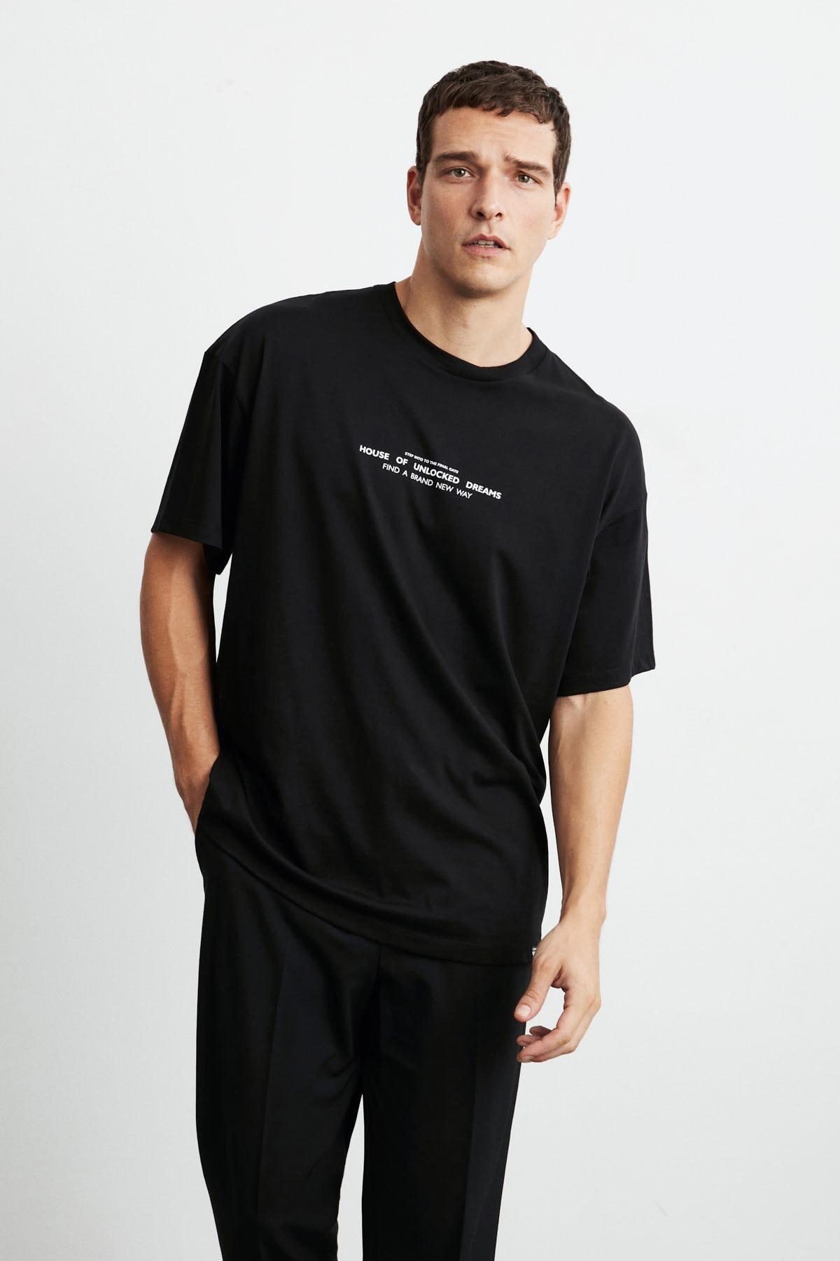 FRANK Erkek Siyah Önü Baskılı Kısa Kollu Oversize Bisiklet Yaka T-Shirt