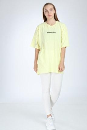 Millionaire Kadın Sarı Stay Antisocial Baskılı Oversize T-shirt 3
