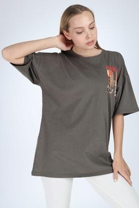 Millionaire Kadın Haki Harlem Baskılı Oversize T-shirt 1