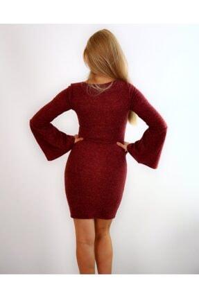 Md1 Collection Kadın  Volanlı V Yaka Esnek Triko Bordo Elbise 3