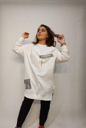 SOUL BY LOREEN FASHİON Kadın Beyaz Cepli Fermuarlı Trend Tarz Sweat Tunik 1