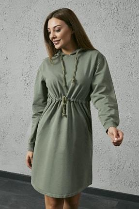 Sateen Kadın Haki Kapüşonlu Sweat Elbise 2