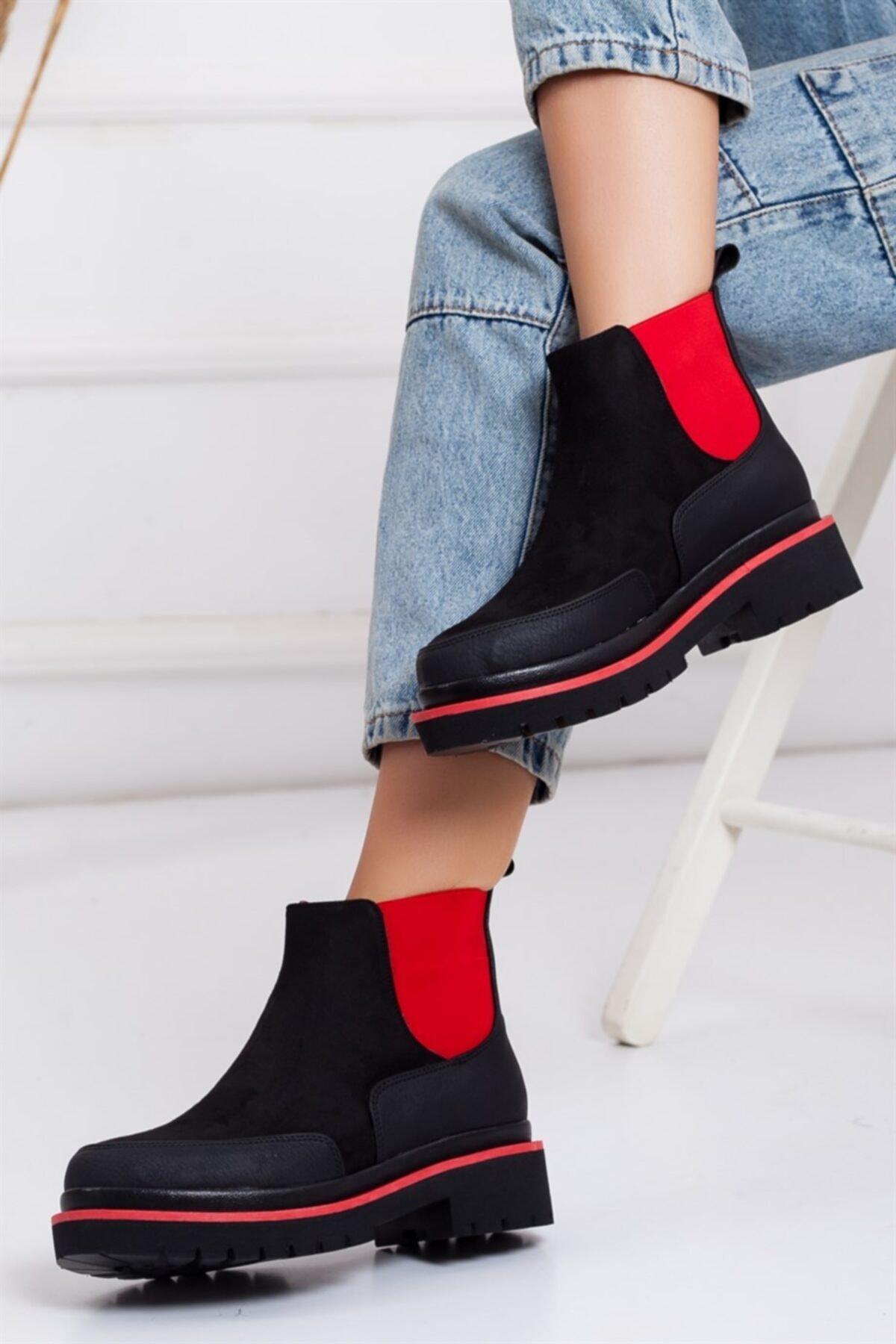 Lovita Shoes Kadın Siyah Kırmızı Süet Bot