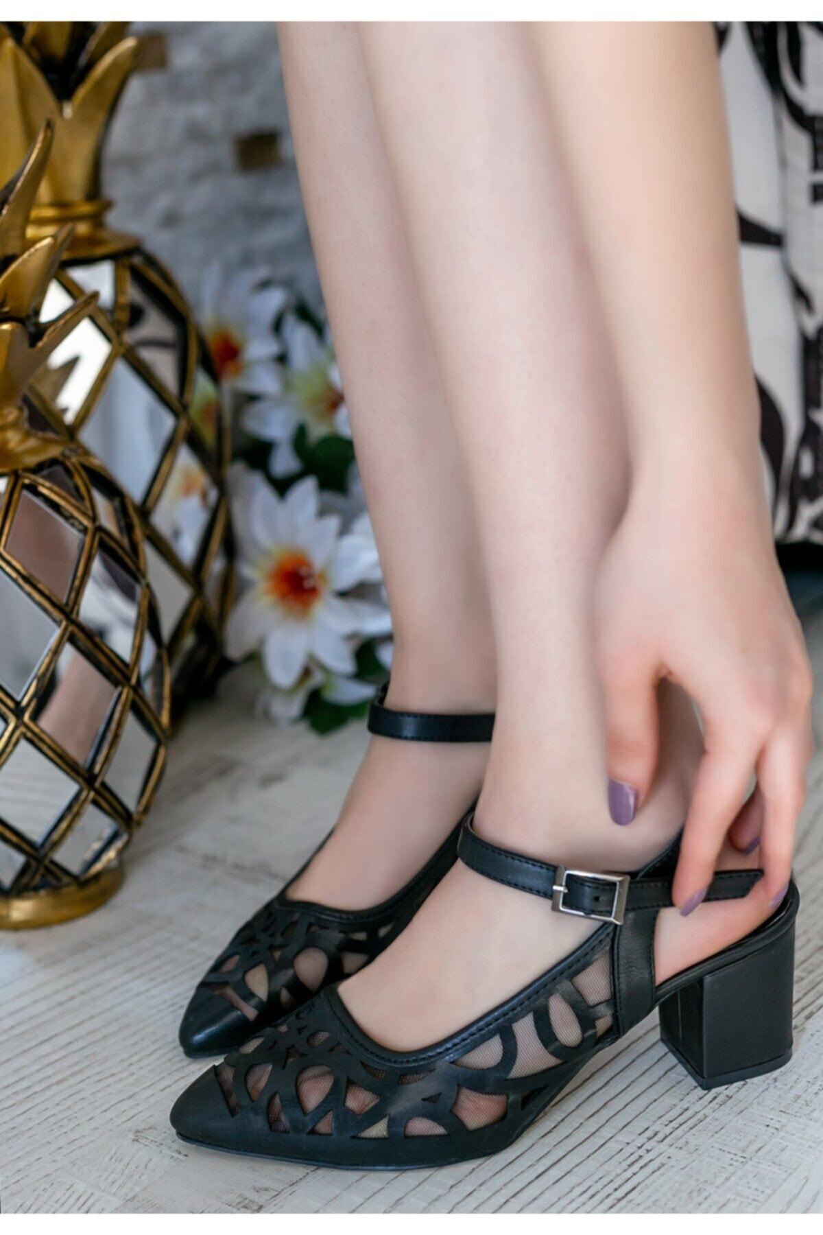 Erbilden Kadın Siyah Cilt Topuklu Ayakkabı