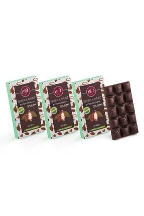 Elit Çikolata Şeker İlavesiz ve Prebiyotik Bitter Çikolata 60g  3'lü Set 0