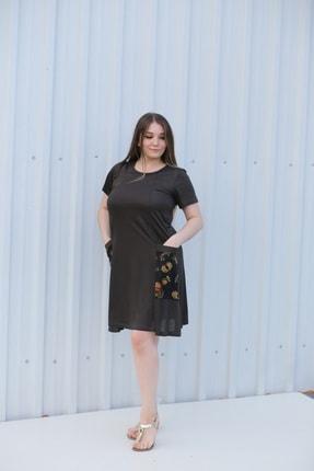 MGS LİFE Kadın, Renkli Cep Detaylı, Koyu Haki Renkli, Büyük Beden Yazlık Elbise 0