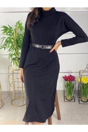 ELBİSENN Kadın Siyah Boğazlı Midi Boy Kemerli Triko Elbise 1