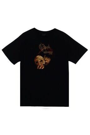 fame-stoned Unisex Siyah Opeth Baskılı T-shirt 0