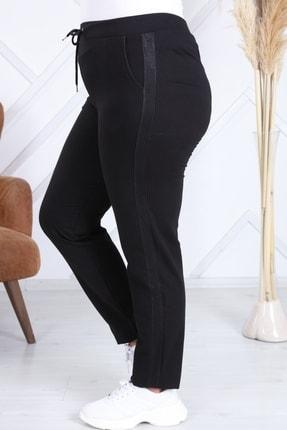Heves Giyim Kadın Siyah Büyük Beden Şeritli Eşofman Altı 0