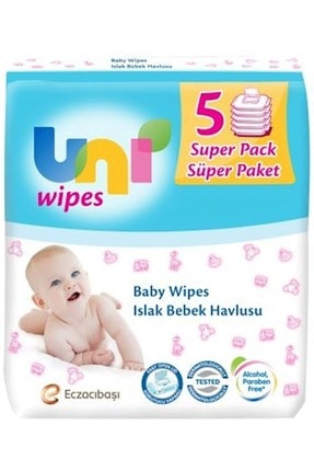 Uni Baby Mavi Plastik Kapaklı  Wipes Havlu Mendil 5 Li Pk 56 Yaprak 0