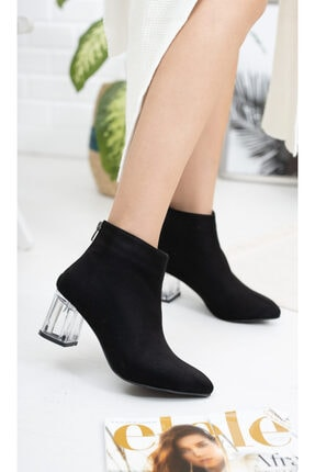 Moda Değirmeni Siyah Süet Kadın Şeffaf Topuk Bot Md1050-116-0001 0