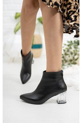 Moda Değirmeni Siyah Cilt Kadın Şeffaf Topuk Bot Md1050-116-0001 2