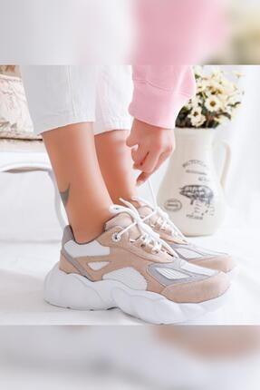 Limoya Kadın Brooklyn Bej Beyaz Gri Süet Bağcıklı Yüksek Tabanlı Sneaker Ayakkabı 2