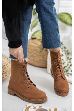 meyra'nın ayakkabıları Taba Süet Lastikli Postal 2