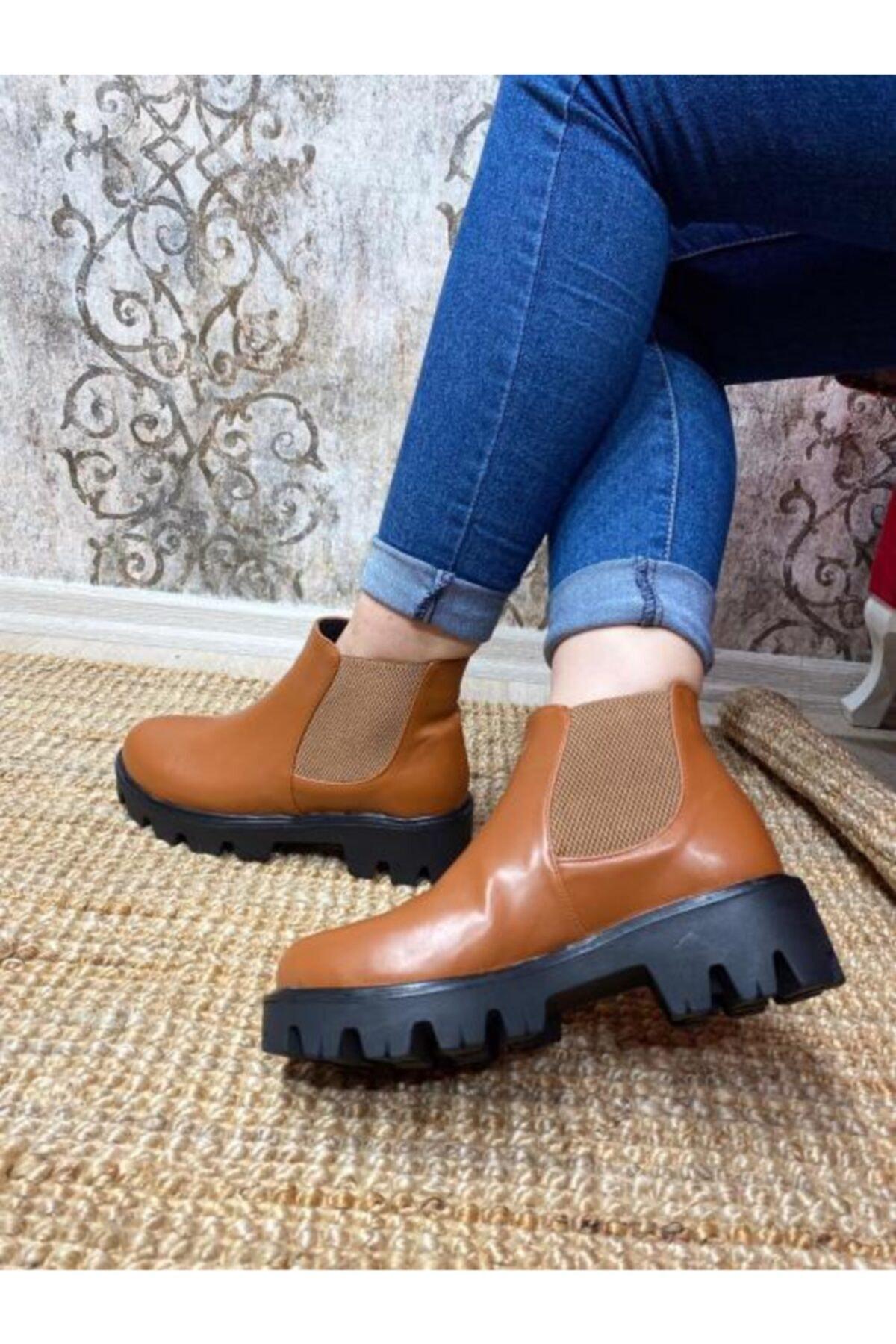Gazal Shoes Kadın Kahverengi Kenar Bantlı Bot
